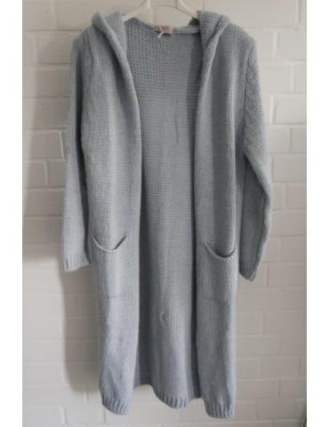 ESViViD Damen Strick Mantel Jacke hellblau mit Wolle Onesize ca. 36 - 40