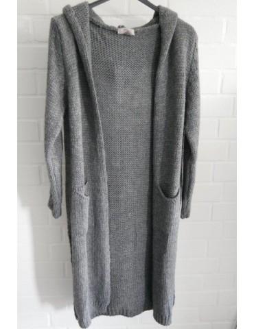 ESViViD Damen Strick Mantel Jacke Kapuze grau mit Wolle Onesize ca. 36 - 40