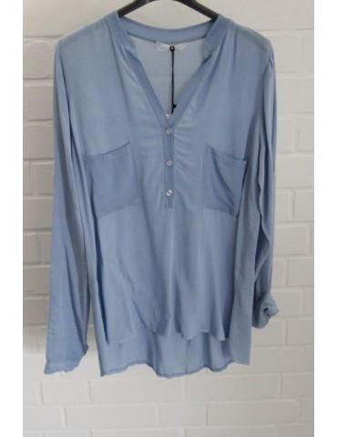 Damen Bluse Shirt jeansblau blau Baumwolle Onesize ca. 36 - 40