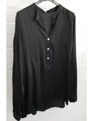 Damen Bluse Shirt Satin schwarz black Viskose Onesize ca. 36 - 40