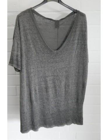 Damen Shirt 100% Leinen kurzarm anthrazit grau Onesize 38 - 42