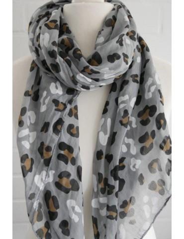 Schal Tuch Loop Made in Italy Seide Baumwolle hellgrau schwarz weiß braun Leo