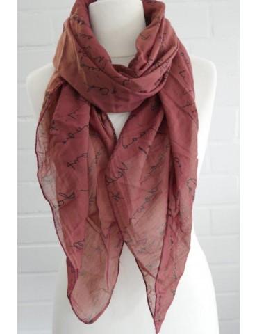 Schal Tuch Loop Made in Italy Seide Baumwolle rost rot schwarz Schrift