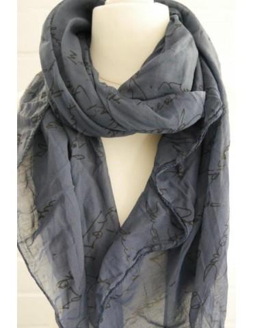 Schal Tuch Loop Made in Italy Seide Baumwolle dunkelblau schwarz Schrift