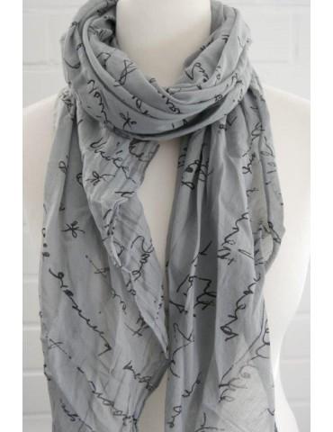 Schal Tuch Loop Made in Italy Seide Baumwolle grau schwarz Schrift