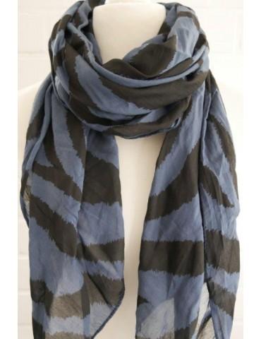 Schal Tuch Loop Made in Italy Seide Baumwolle dunkelblau schwarz Zebra Streifen