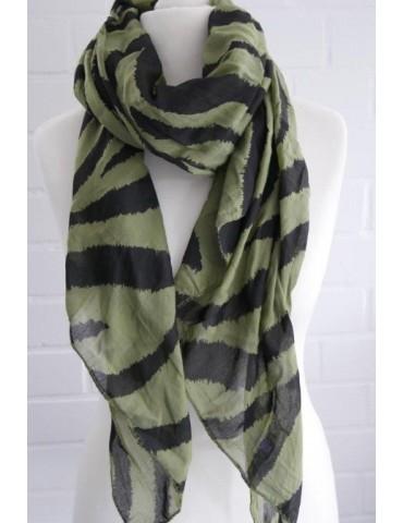 Schal Tuch Loop Made in Italy Seide Baumwolle grün schwarz Zebra Streifen