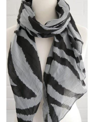 Schal Tuch Loop Made in Italy Seide Baumwolle grau schwarz Zebra Streifen