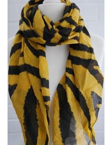Schal Tuch Loop Made in Italy Seide Baumwolle curry gelb schwarz Zebra Streifen