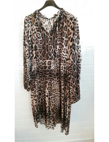 Damen Tunika Kleid A-Form beige braun creme schwarz Leo Onesize ca. 36 - 42 Made in Italy