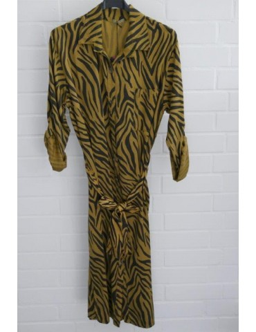Damen Tunika Kleid gerader Schnitt senf schwarz Zebra Onesize ca. 40 - 44 Made in Italy