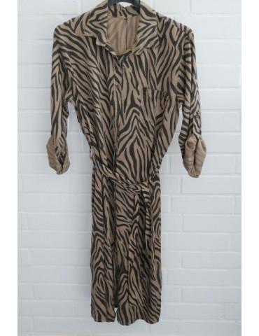 Damen Tunika Kleid gerader Schnitt beige schwarz Zebra Onesize ca. 40 - 44 Made in Italy