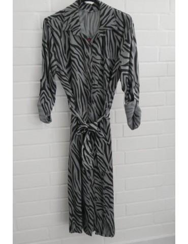 Damen Tunika Kleid gerader Schnitt grau schwarz Zebra Onesize ca. 40 - 44 Made in Italy