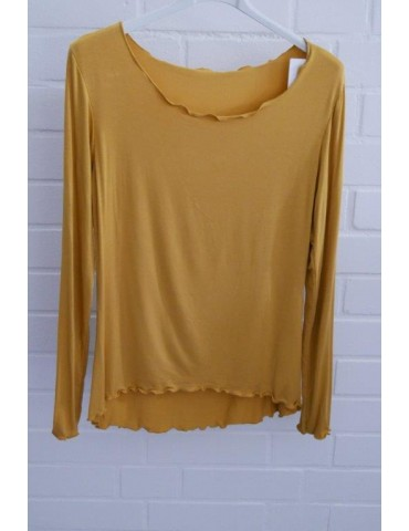 Damen Shirt langarm curry gelb mit Viskose Onesize 36 - 40