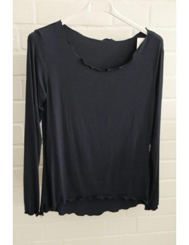 Damen Shirt langarm dunkelblau marine mit Viskose Onesize 36 - 40