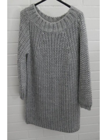 Damen Strick Kleid Pullover hellgrau grau Patent Onesize ca. 36 - 40