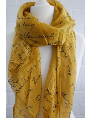 Schal Tuch Loop Made in Italy Seide Baumwolle curry gelb schwarz Schrift
