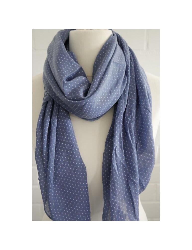 Schal Tuch Loop Made in Italy Seide Baumwolle jeansblau weiß Mini Punkte