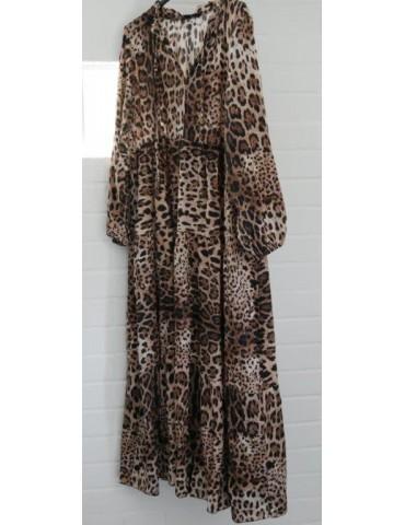 Damen Maxi Kleid A-Form beige braun creme schwarz Leo Onesize ca. 36 - 42 Made in Italy