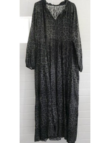 Damen Maxi Kleid A-Form anthrazit grau schwarz Leo Onesize ca. 36 - 42 Made in Italy