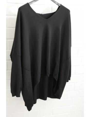 ESViViD Damen Pullover V-Ausschnitt schwarz black Onesize ca. 38 - 46 mit Viskose 7050