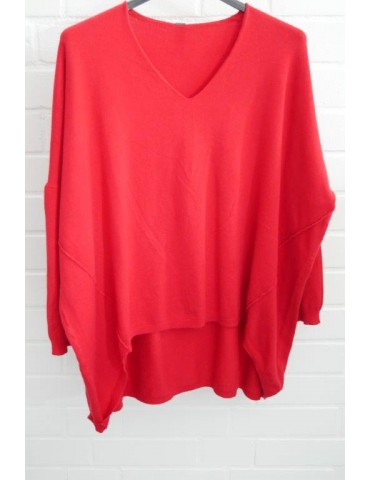 ESViViD Damen Pullover V-Ausschnitt rot red Onesize ca. 38 - 46 mit Viskose 7050