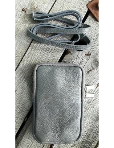 Damen Echt Leder Handy Tasche Schultertasche grau grey uni glatt