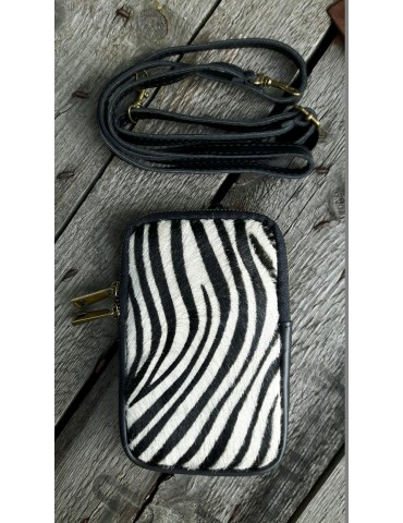 Damen Echt Leder Handy Tasche Schultertasche schwarz creme Zebra Fell