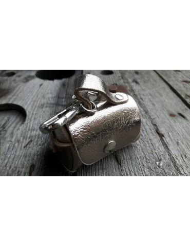 Schlüsselanhänger Anhänger Täschchen bronze metallic Echt Leder