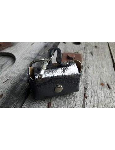 Schlüsselanhänger Anhänger Täschchen anthrazit grau metallic Echt Leder