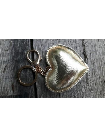 Schlüsselanhänger Anhänger Herz gold metallic Kunstleder