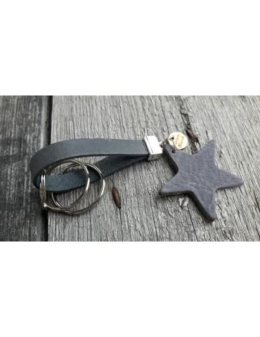 Schlüsselanhänger Anhänger grau Echtes Leder Stern