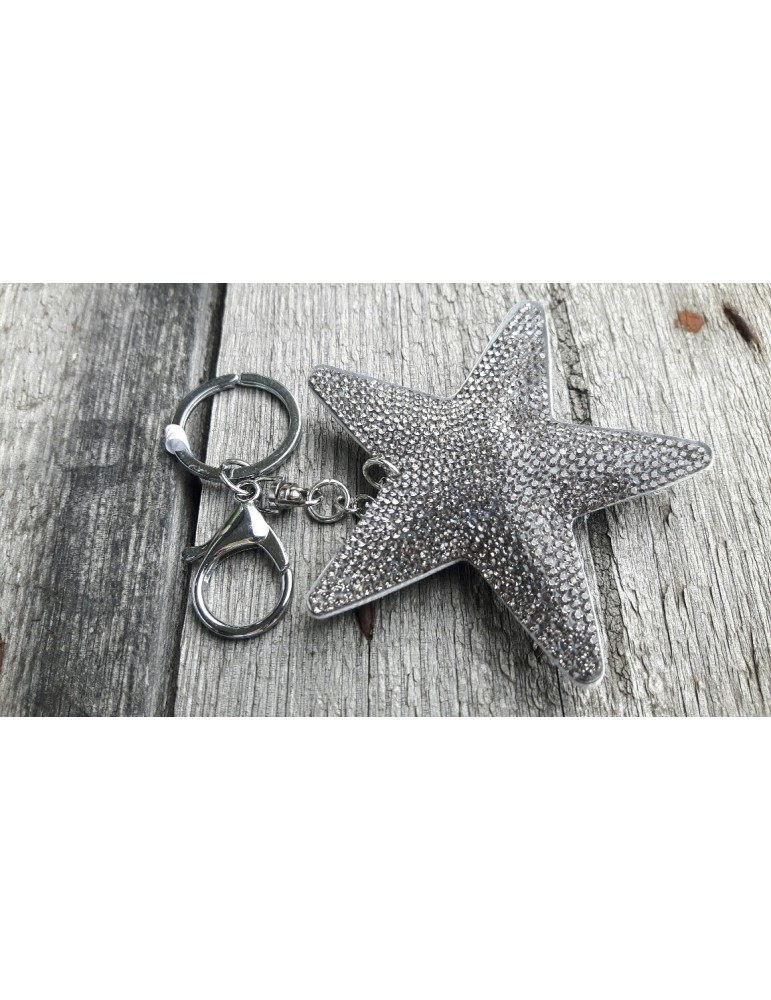 Schlüsselanhänger Anhänger grau grey Stern Strass