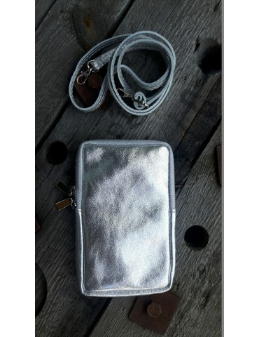 Damen Echt Leder Handy Tasche Schultertasche silberfarben metallic uni glatt