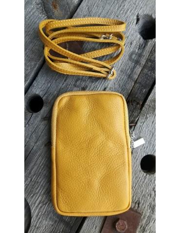 Damen Echt Leder Handy Tasche Schultertasche senf gelb curry uni glatt