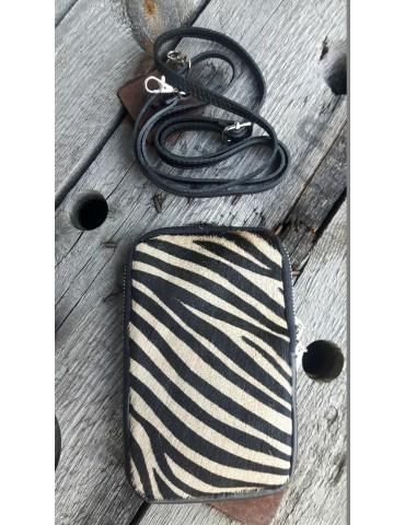 Damen Echt Leder Handy Tasche Schultertasche schwarz beige Zebra Fell