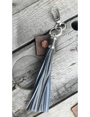 Schlüsselanhänger Anhänger schwarz black Echtes Leder Trotteln Tasseln