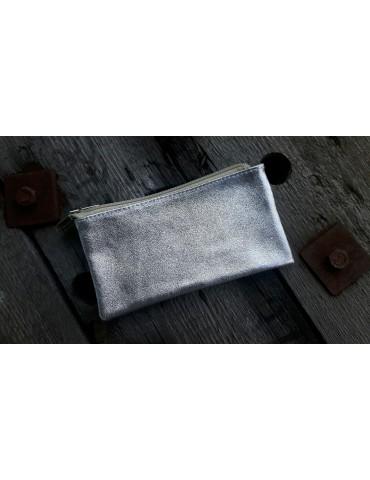 Flaches Kosmetiktasche Portemonnaie silber Echtes Leder