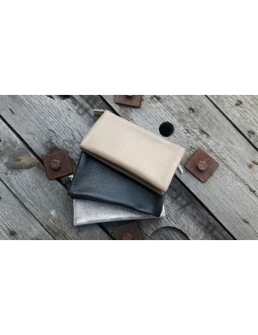 Flaches Kosmetiktasche Portemonnaie beige sand...