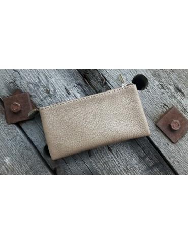 Flaches Kosmetiktasche Portemonnaie beige sand uni Echtes Leder