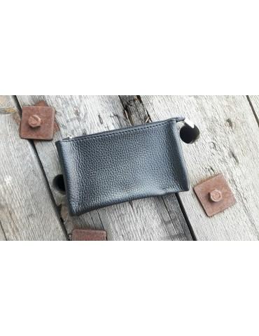 Flaches Kosmetiktasche Portemonnaie schwarz black uni Echtes Leder