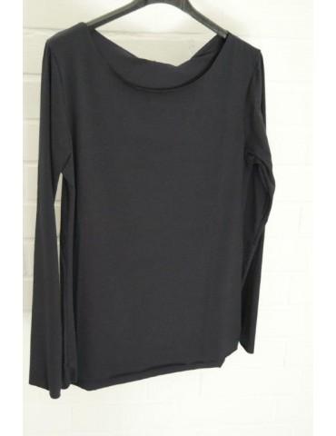 Damen Shirt langarm dunkelblau marine uni mit Baumwolle Onesize 36 38