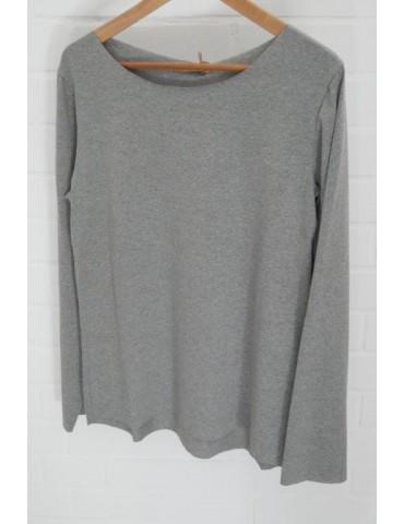 Damen Shirt langarm grau meliert mit Baumwolle Onesize 36 38