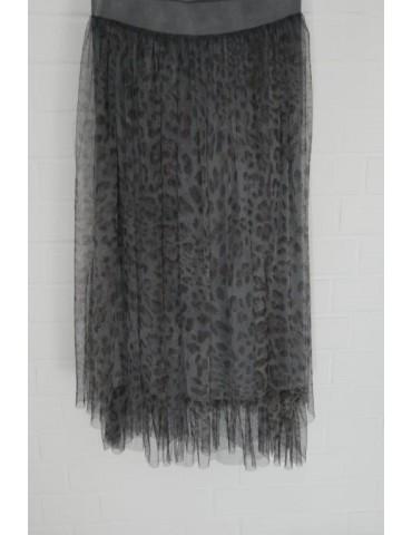 Damen Tüll Rock anthrazit grau schwarz Leo Onesize ca. 38 - 42 Blogger Style