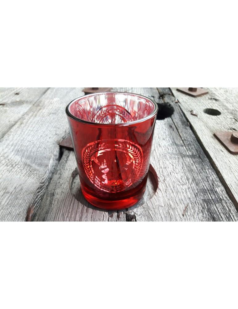 Teelicht Teelichtglas Kerze Glas rot silber Hirsch Weihnachten Advent