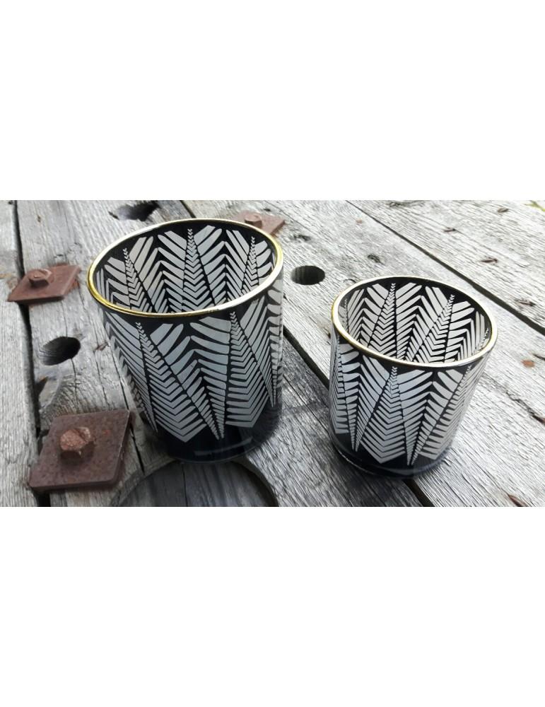 Teelicht Teelichtglas Kerze Glas schwarz klar Muster klein Weihnachten Advent