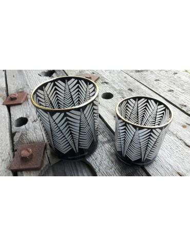 Teelicht Teelichtglas Kerze Glas schwarz klar Muster groß Weihnachten Advent