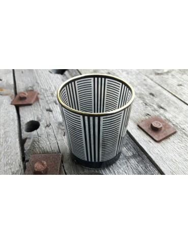 Teelicht Teelichtglas Kerze Glas schwarz klar Streifen groß Weihnachten Advent