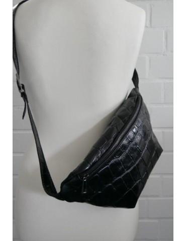 Damen Echt Leder Gürtel Tasche Schultertasche schwarz Kroko Look Blogger Style