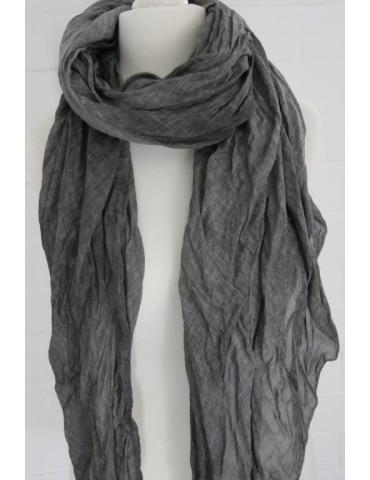 XXL Damen Schal Tuch anthrazit grau verwaschen 100% Baumwolle Asymmetrisch
